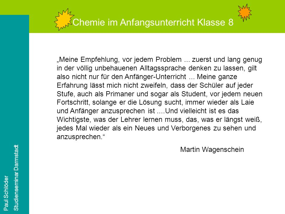 Chemie im Anfangsunterricht Klasse 8