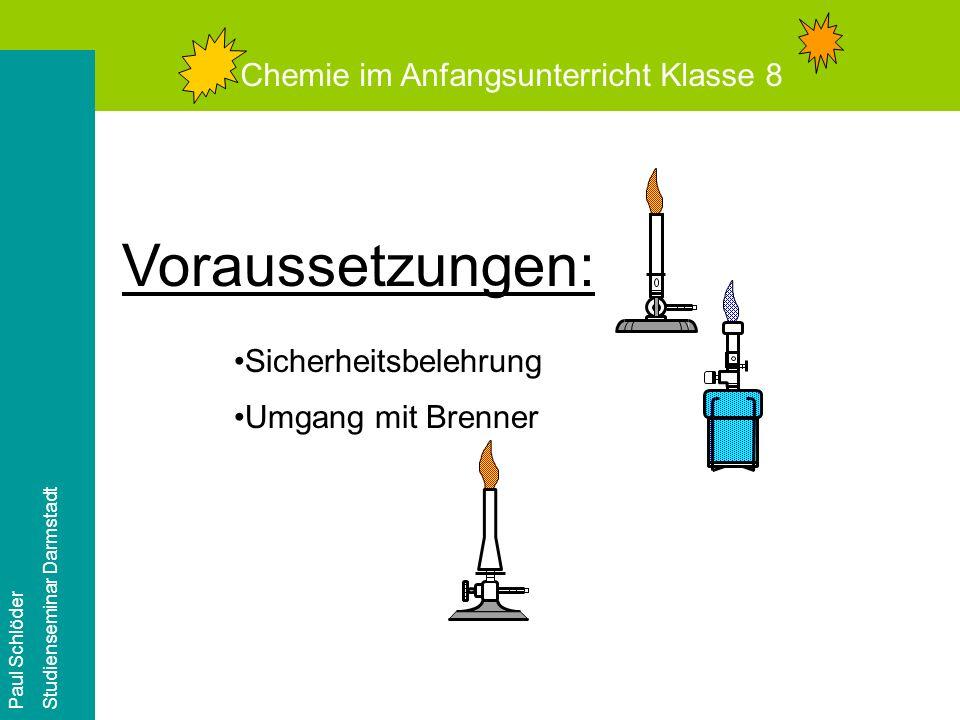 Voraussetzungen: Chemie im Anfangsunterricht Klasse 8