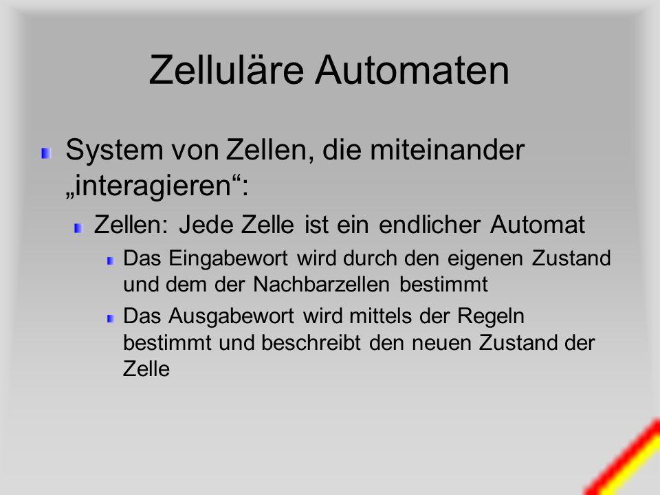 """Zelluläre Automaten System von Zellen, die miteinander """"interagieren :"""