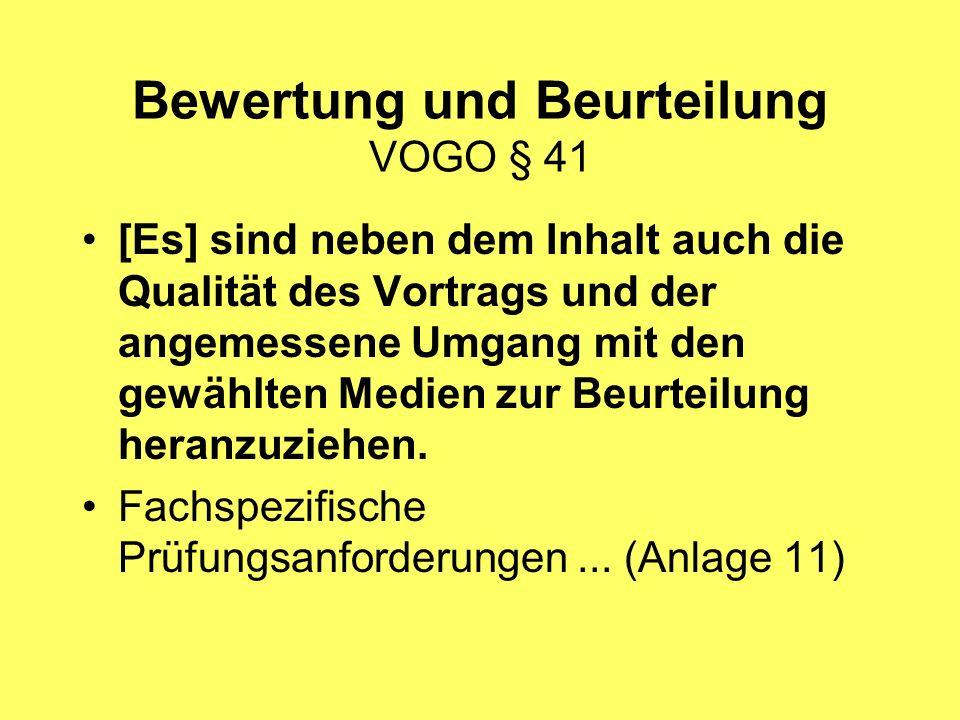 Bewertung und Beurteilung VOGO § 41