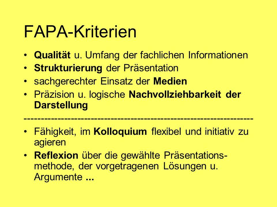 FAPA-Kriterien Qualität u. Umfang der fachlichen Informationen