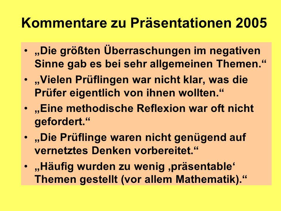 Kommentare zu Präsentationen 2005