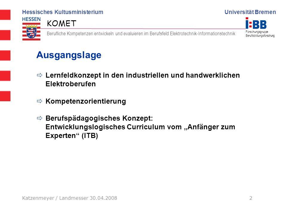 AusgangslageLernfeldkonzept in den industriellen und handwerklichen Elektroberufen. Kompetenzorientierung.