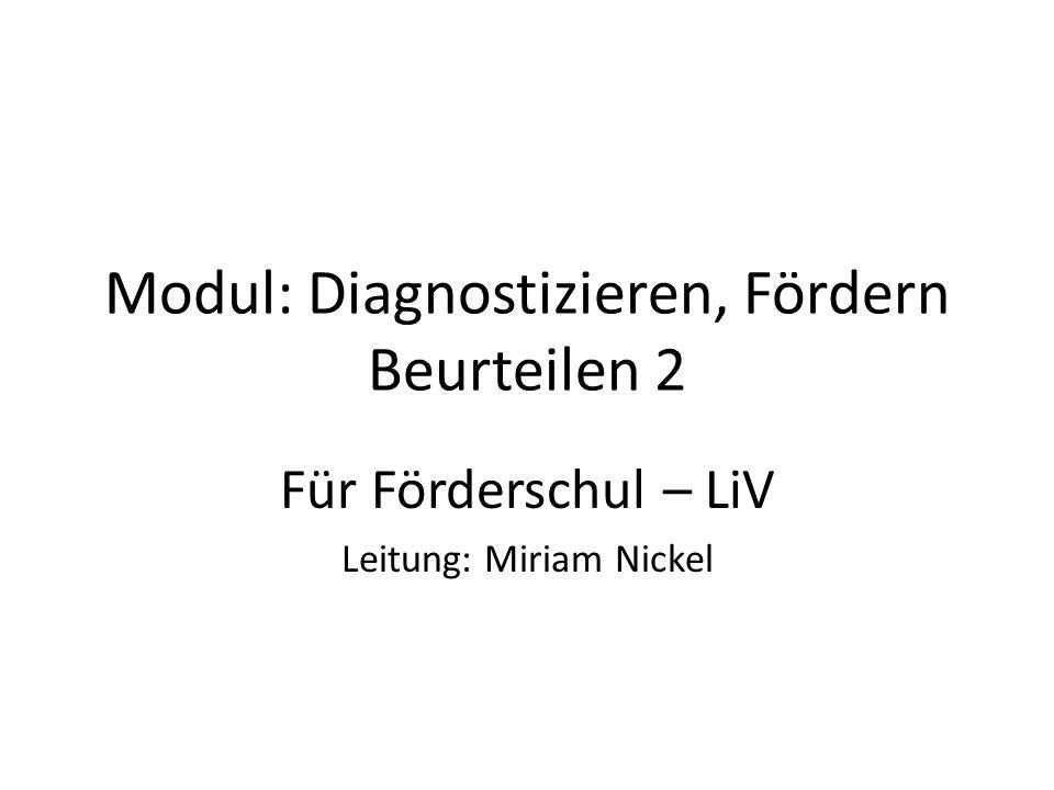 Modul: Diagnostizieren, Fördern Beurteilen 2