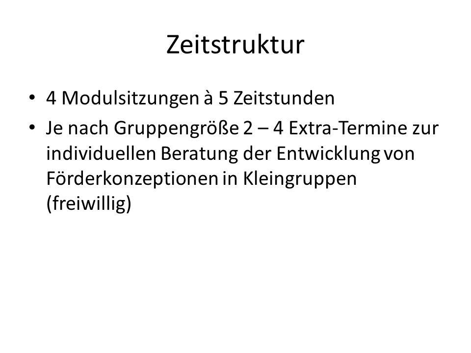 Zeitstruktur 4 Modulsitzungen à 5 Zeitstunden