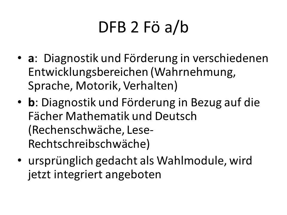 DFB 2 Fö a/b a: Diagnostik und Förderung in verschiedenen Entwicklungsbereichen (Wahrnehmung, Sprache, Motorik, Verhalten)
