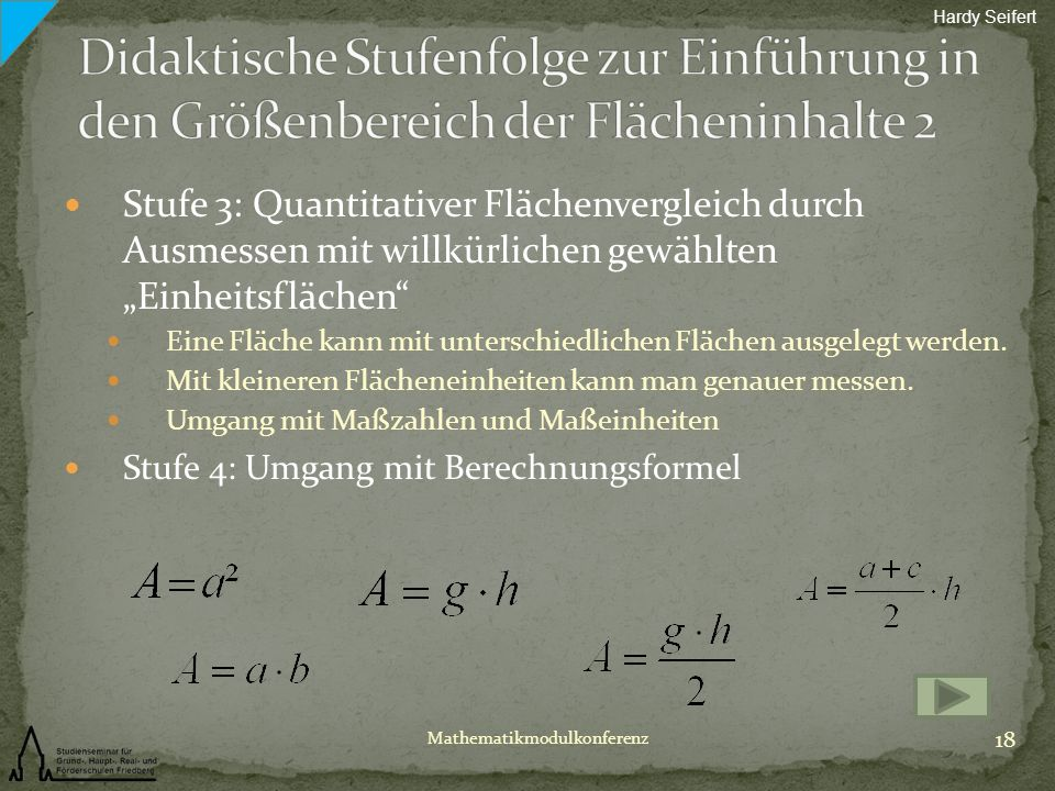 Hardy Seifert Didaktische Stufenfolge zur Einführung in den Größenbereich der Flächeninhalte 2.