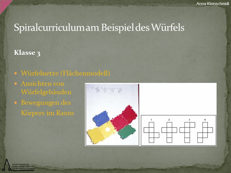 Spiralcurriculum am Beispiel des Würfels
