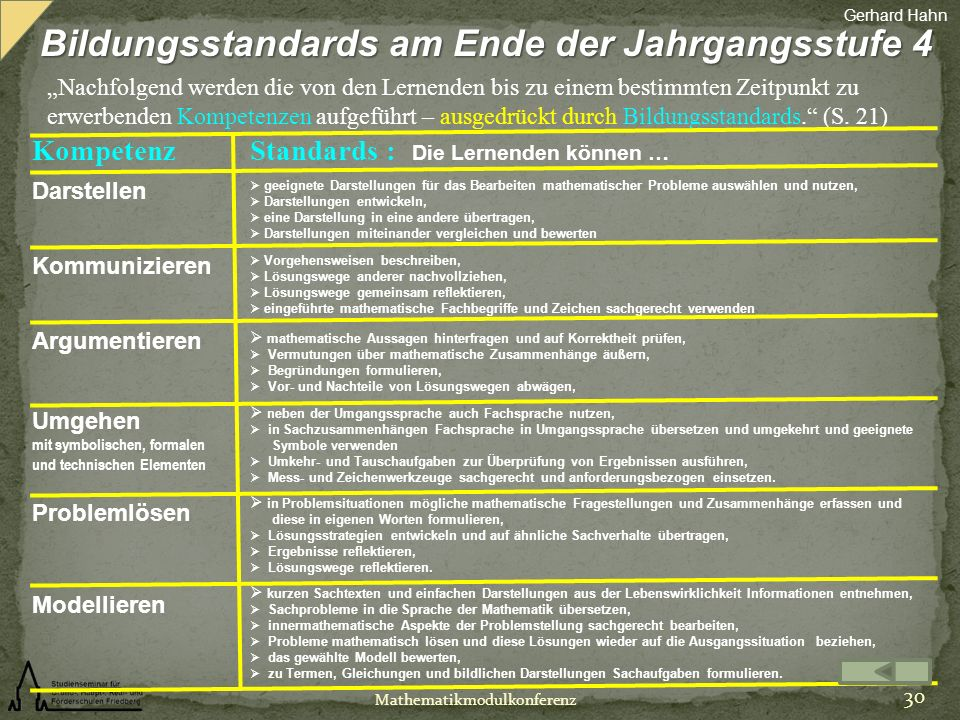 Bildungsstandards am Ende der Jahrgangsstufe 4