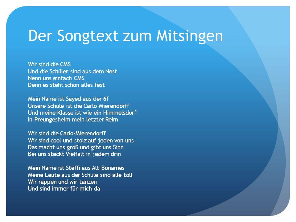 Der Songtext zum Mitsingen