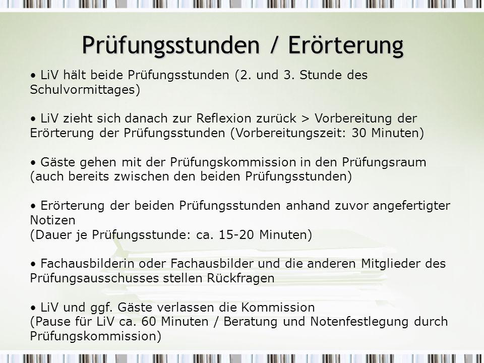 Prüfungsstunden / Erörterung