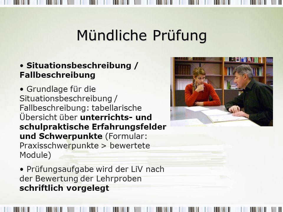 Mündliche Prüfung Situationsbeschreibung / Fallbeschreibung