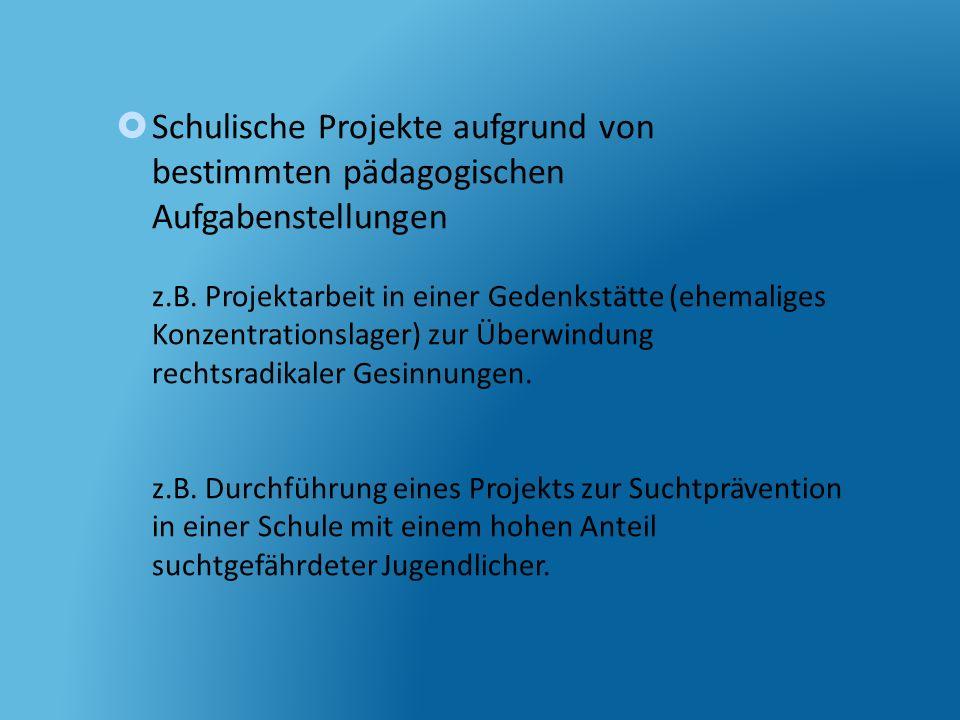 Schulische Projekte aufgrund von bestimmten pädagogischen Aufgabenstellungen z.B.
