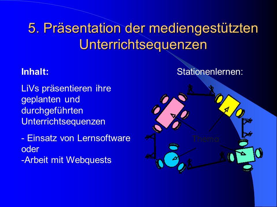 5. Präsentation der mediengestützten Unterrichtsequenzen