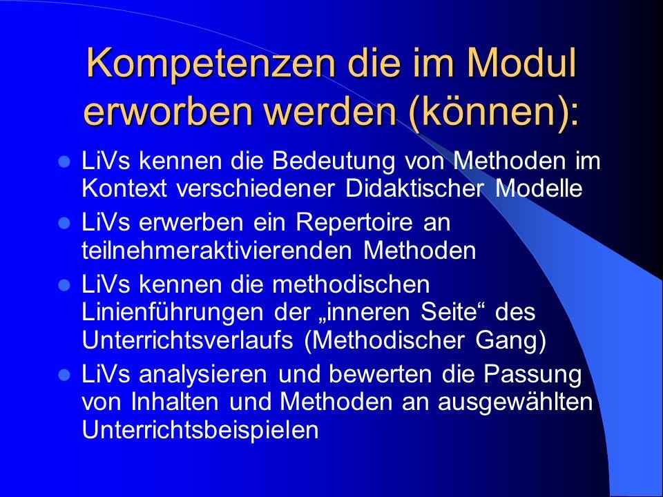 Kompetenzen die im Modul erworben werden (können):