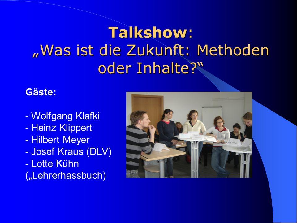 """Talkshow: """"Was ist die Zukunft: Methoden oder Inhalte"""