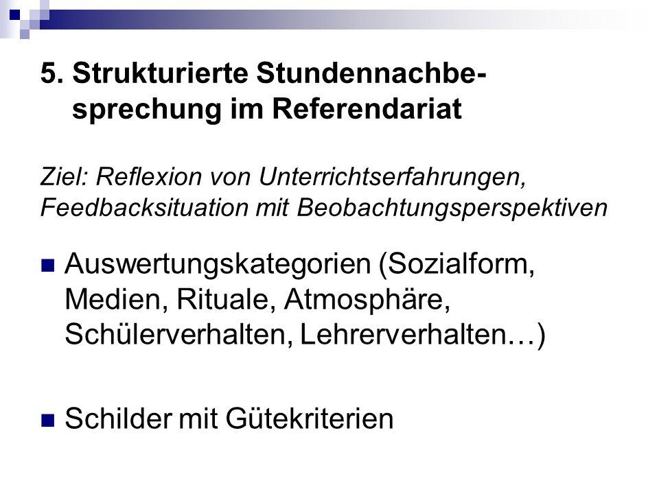 5. Strukturierte Stundennachbe- sprechung im Referendariat Ziel: Reflexion von Unterrichtserfahrungen, Feedbacksituation mit Beobachtungsperspektiven