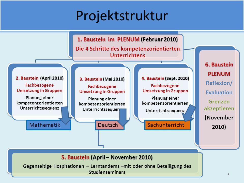 Projektstruktur 1. Baustein im PLENUM (Februar 2010)