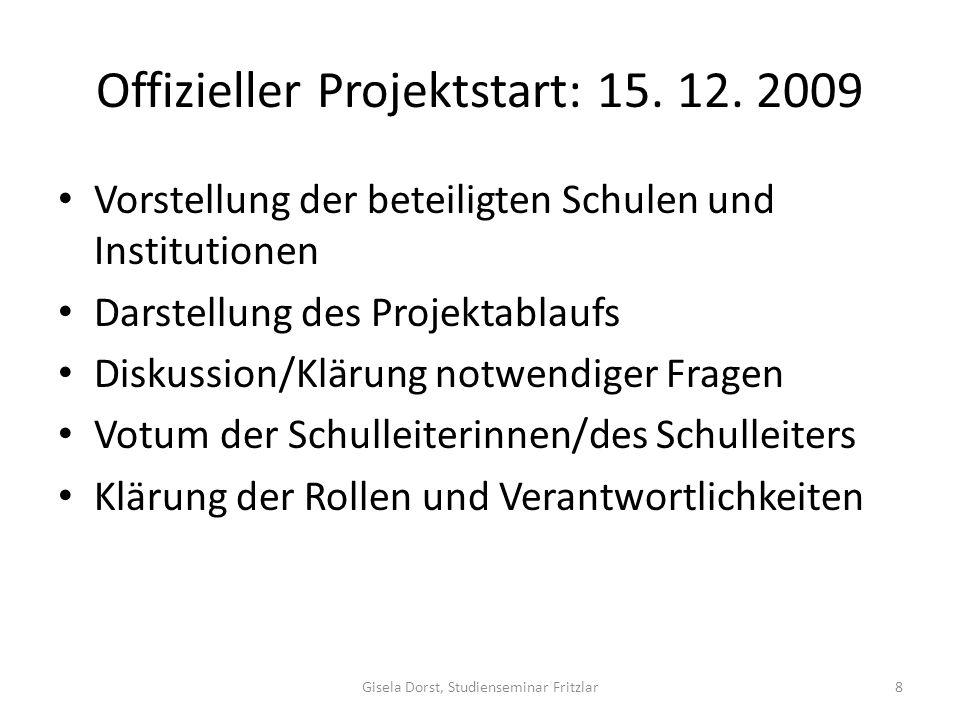 Offizieller Projektstart: 15. 12. 2009