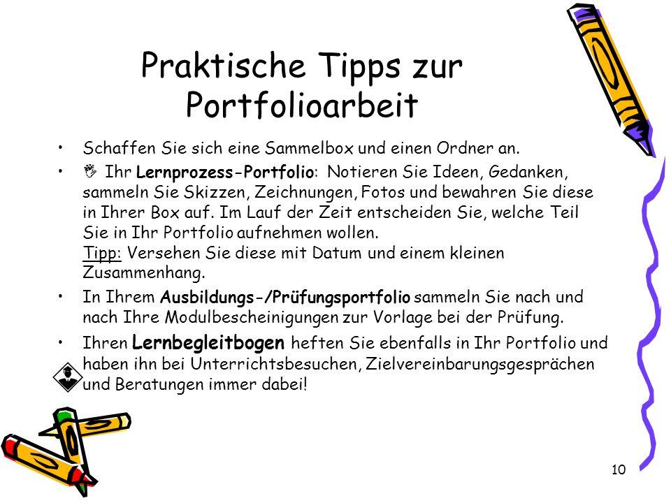 Praktische Tipps zur Portfolioarbeit