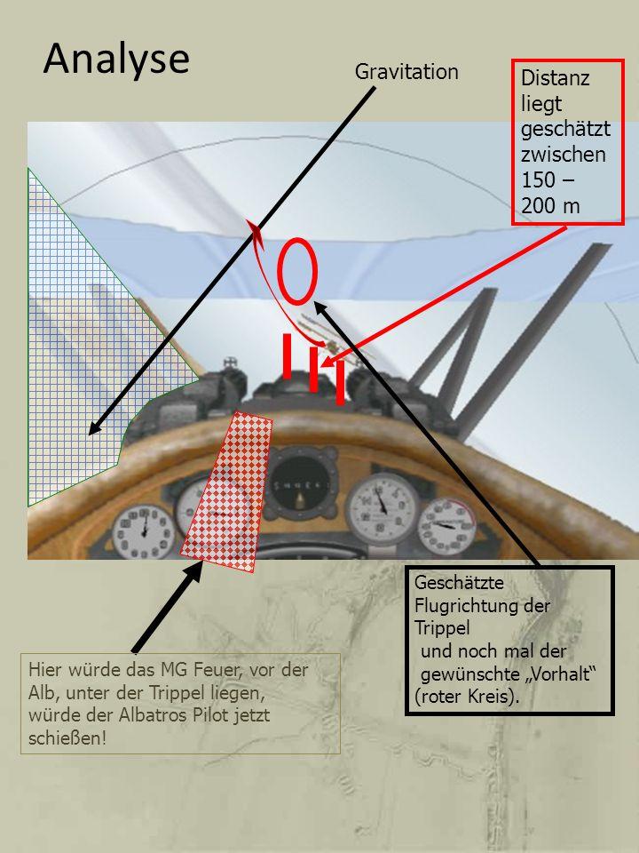 Analyse Gravitation Distanz liegt geschätzt zwischen150 – 200 m