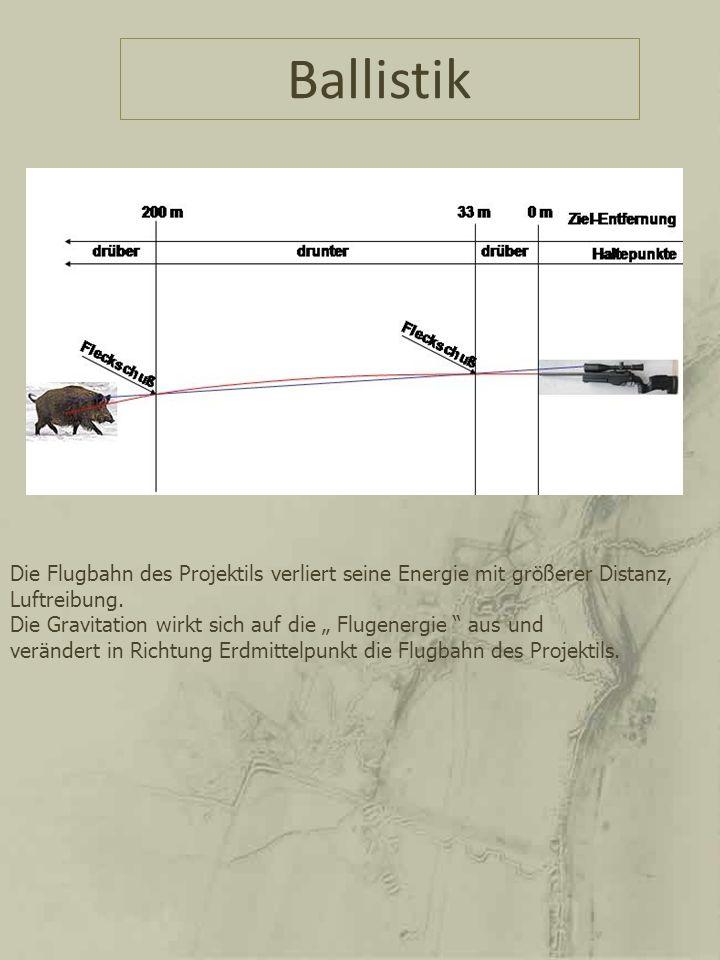 Ballistik Die Flugbahn des Projektils verliert seine Energie mit größerer Distanz, Luftreibung.