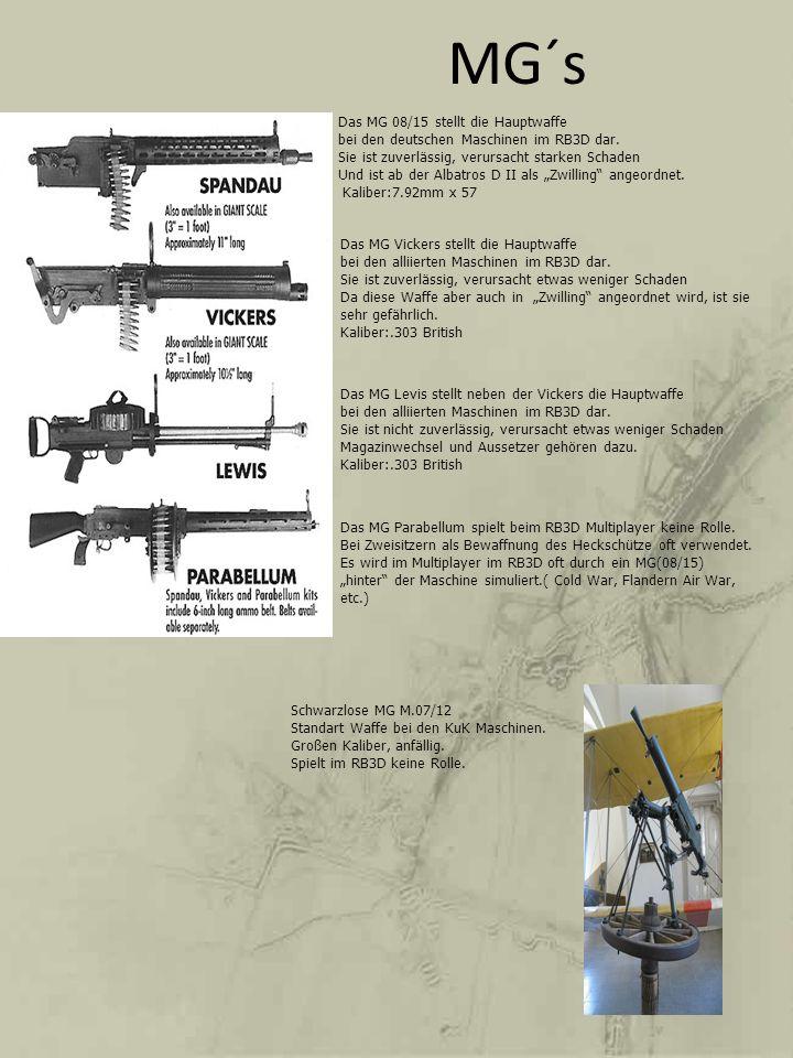 MG´s Das MG 08/15 stellt die Hauptwaffe