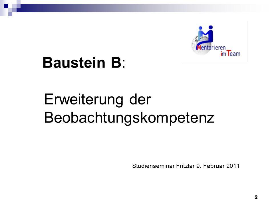 Baustein B: Erweiterung der Beobachtungskompetenz