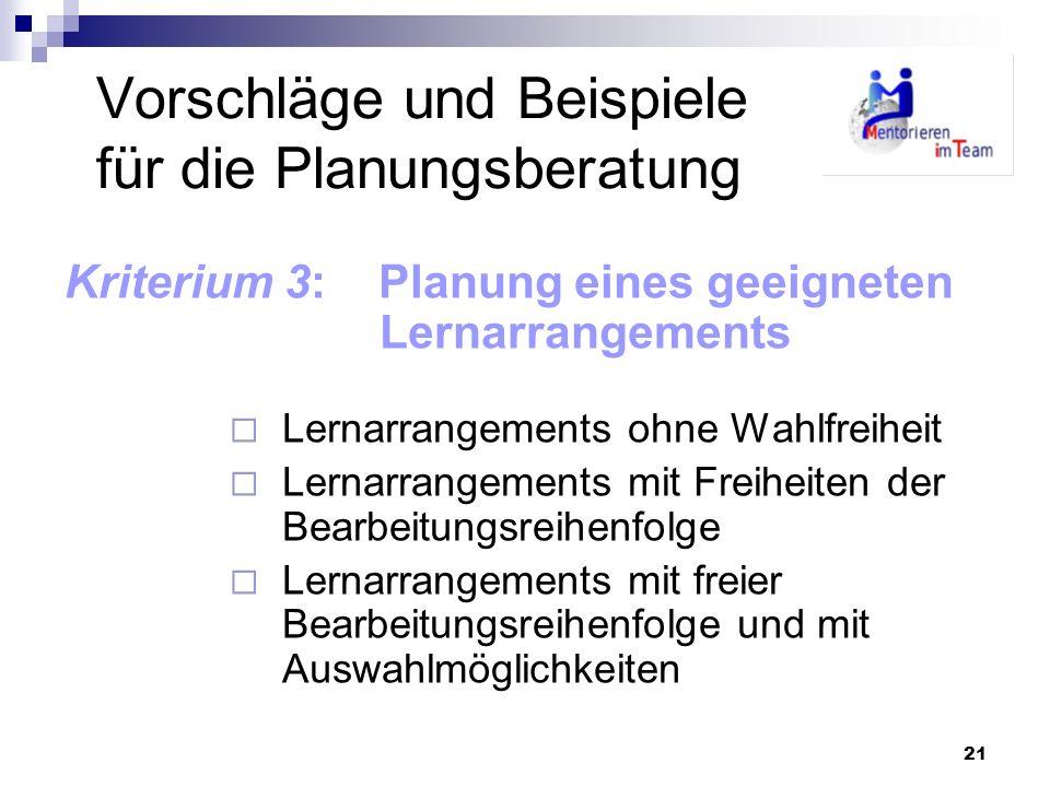 Vorschläge und Beispiele für die Planungsberatung