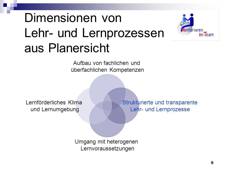 Dimensionen von Lehr- und Lernprozessen aus Planersicht