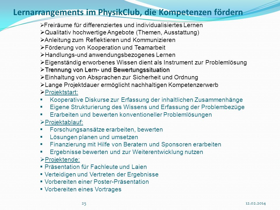 Lernarrangements im PhysikClub, die Kompetenzen fördern