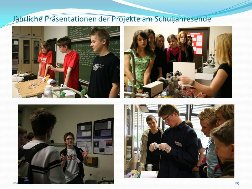 Jährliche Präsentationen der Projekte am Schuljahresende