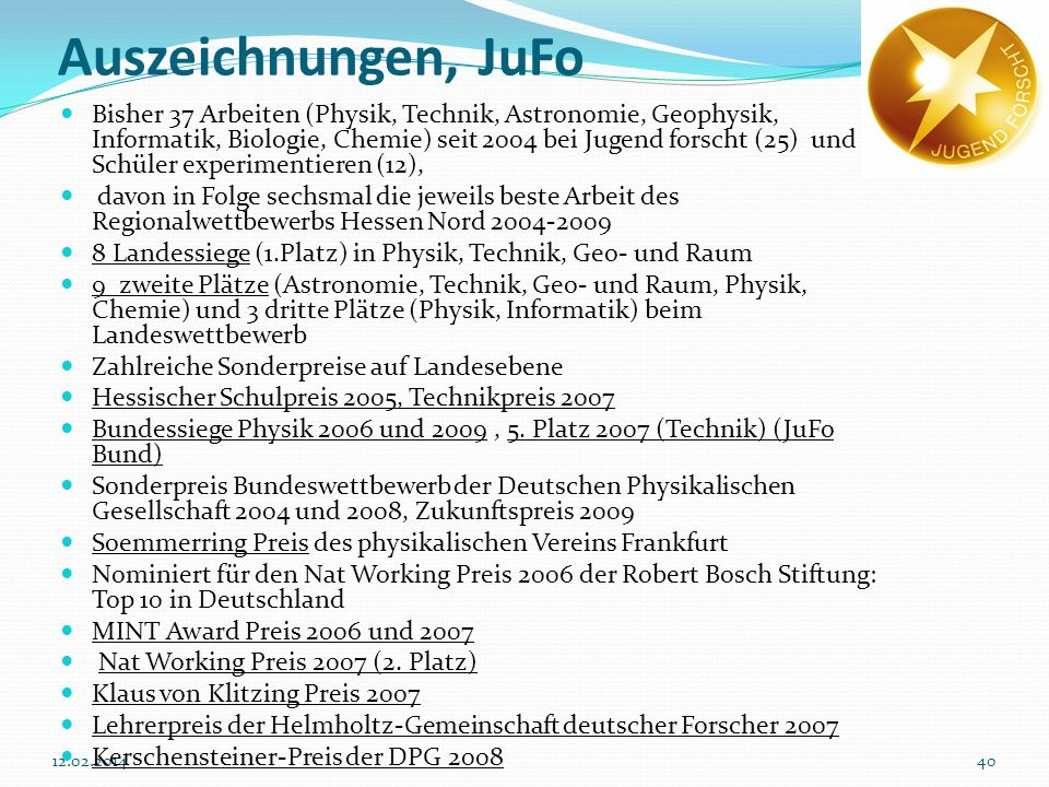 Auszeichnungen, JuFo