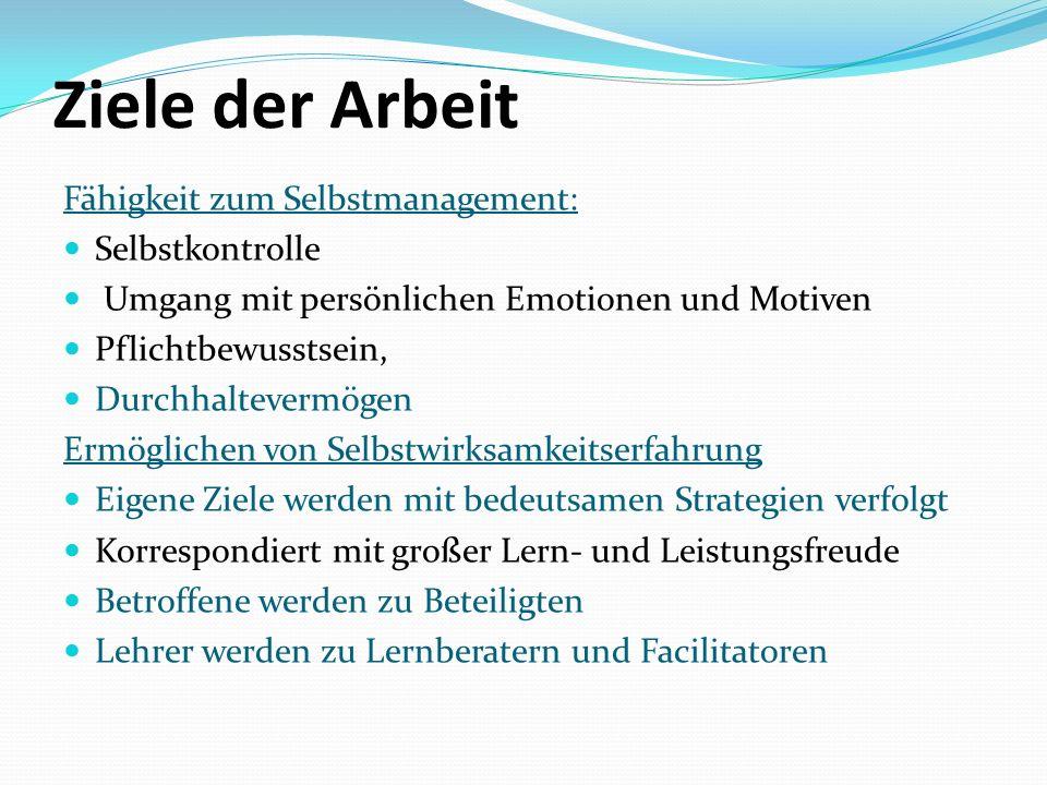 Ziele der Arbeit Fähigkeit zum Selbstmanagement: Selbstkontrolle