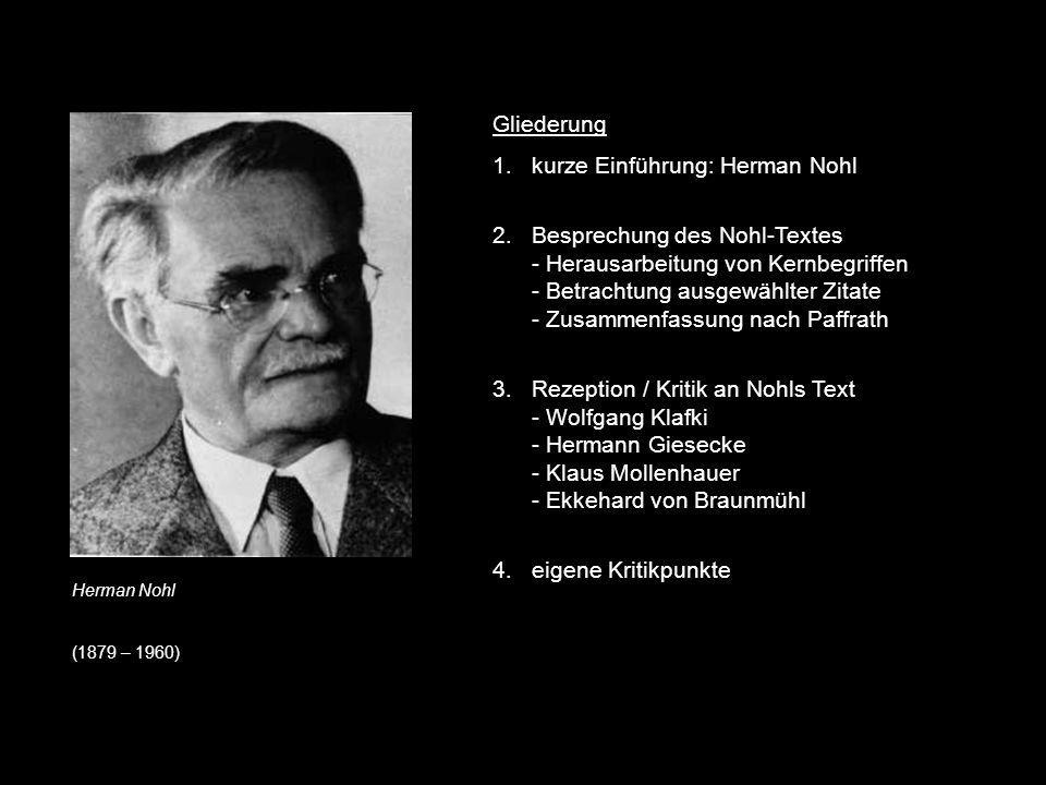 kurze Einführung: Herman Nohl