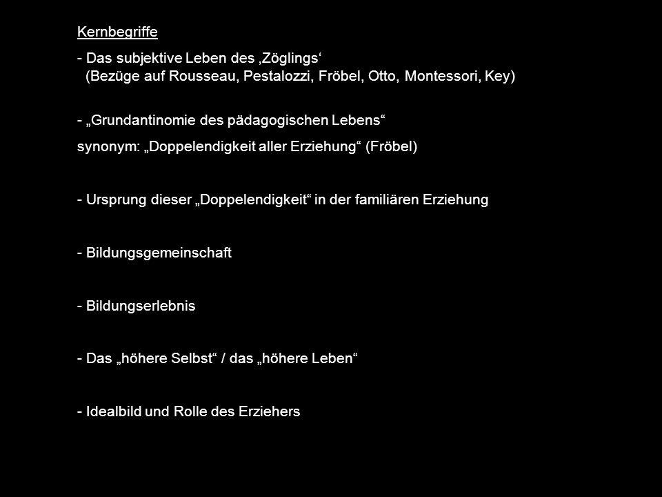 Kernbegriffe Das subjektive Leben des 'Zöglings' (Bezüge auf Rousseau, Pestalozzi, Fröbel, Otto, Montessori, Key)