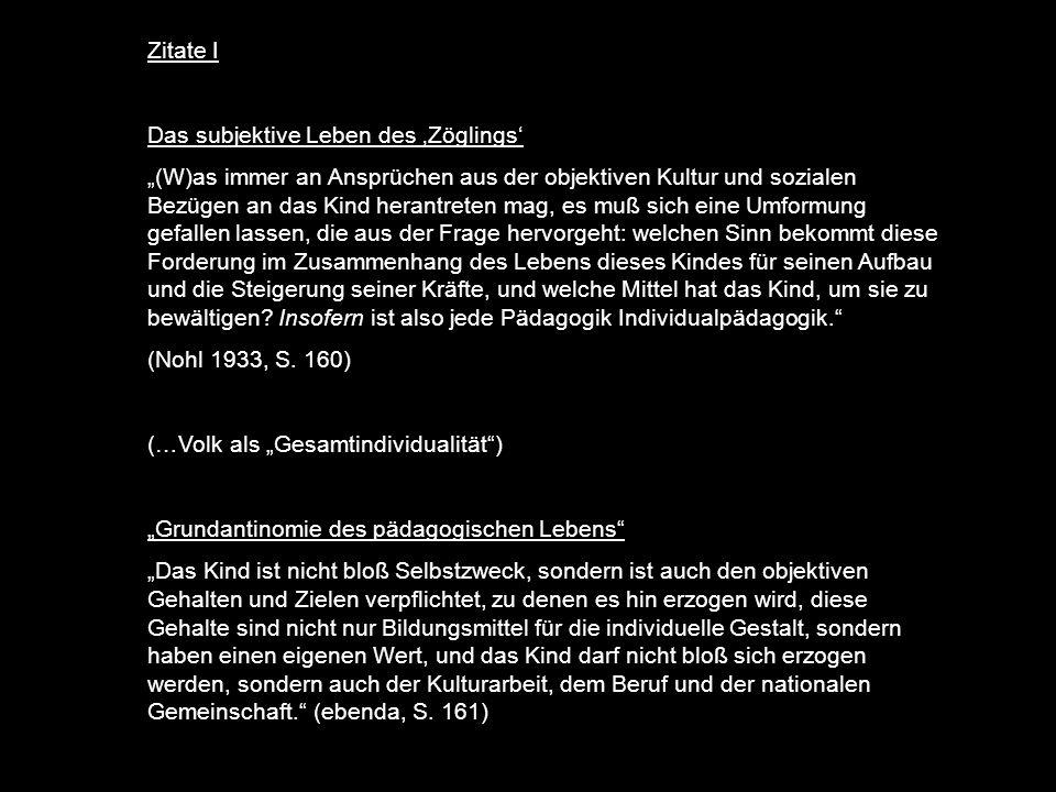 Zitate I Das subjektive Leben des 'Zöglings'