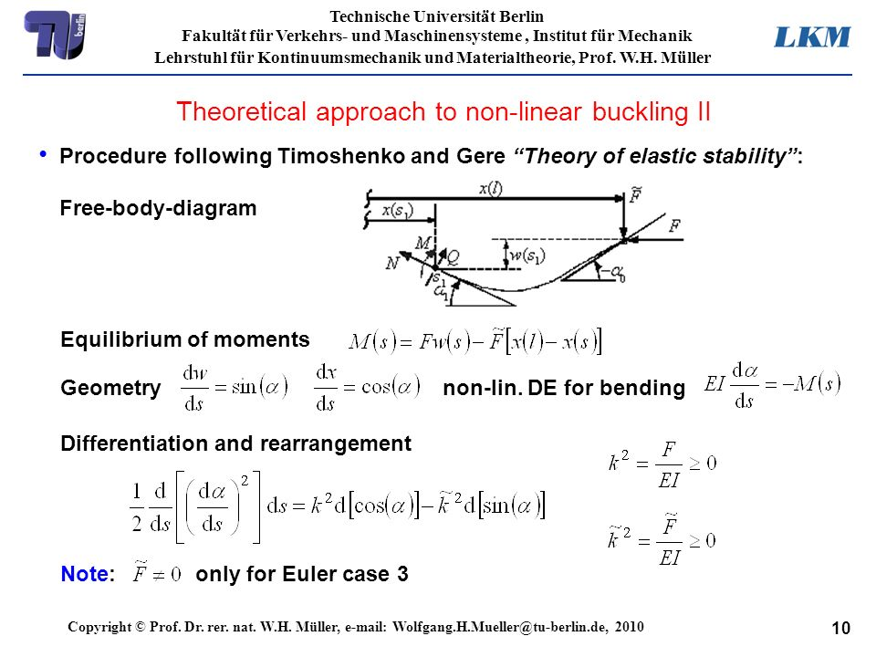 Theoretical approach to non-linear buckling II