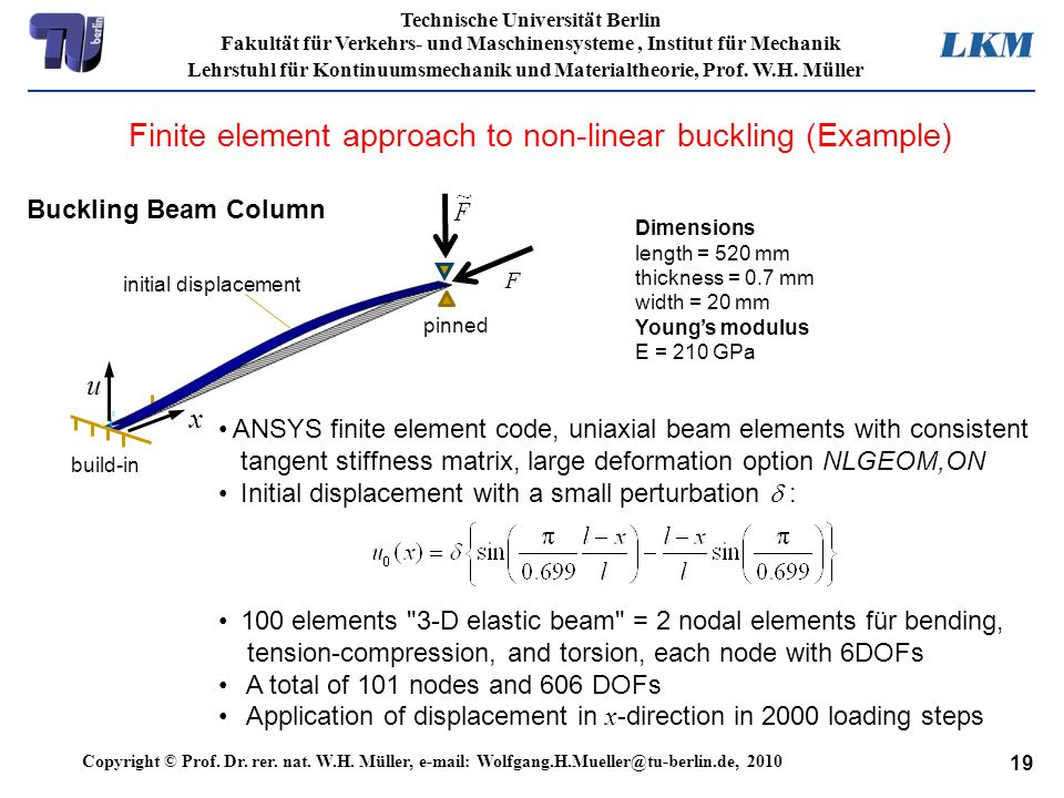 Finite element approach to non-linear buckling (Example)