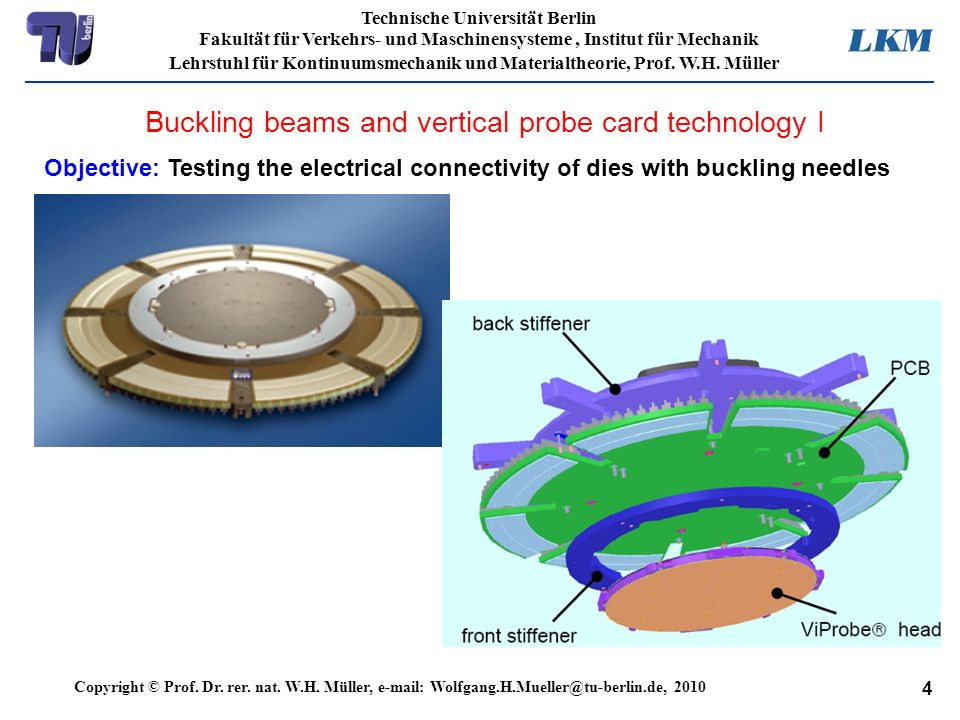 Buckling beams and vertical probe card technology I