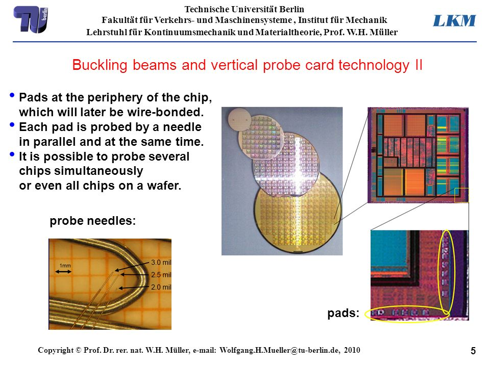 Buckling beams and vertical probe card technology II