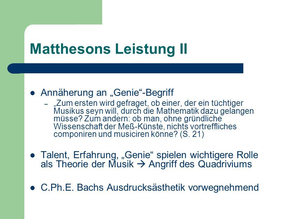 Matthesons Leistung II