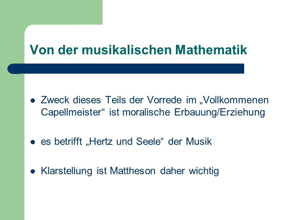 Von der musikalischen Mathematik