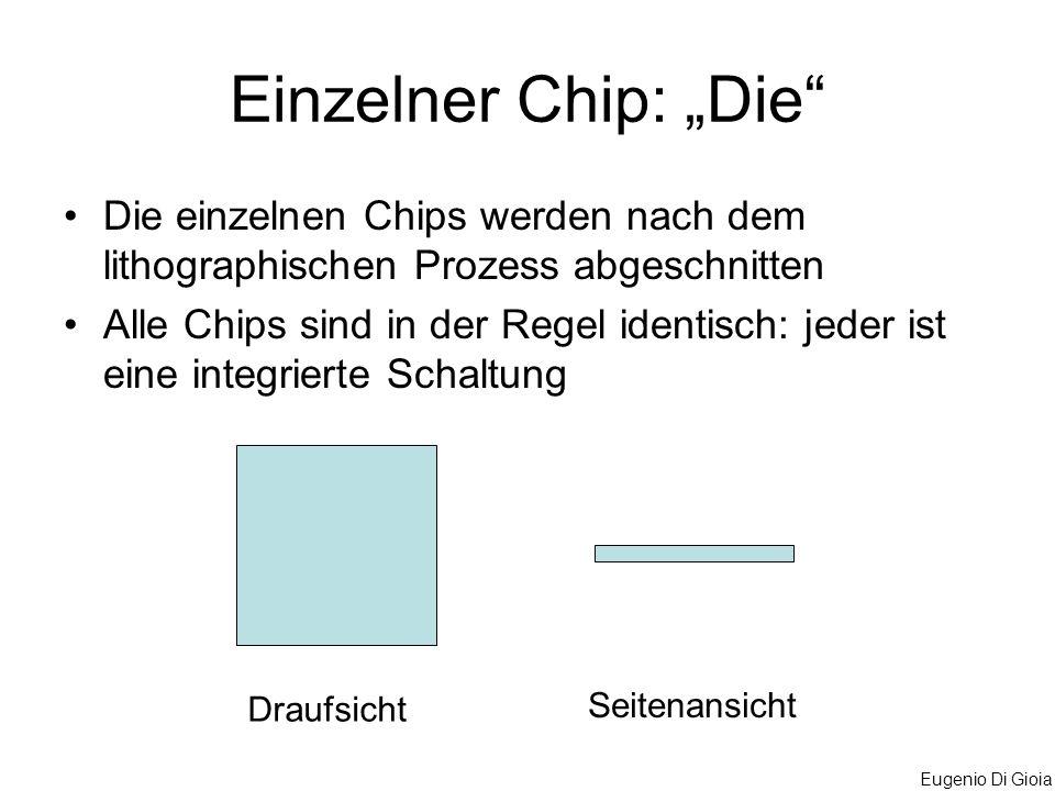 """Einzelner Chip: """"Die Die einzelnen Chips werden nach dem lithographischen Prozess abgeschnitten."""