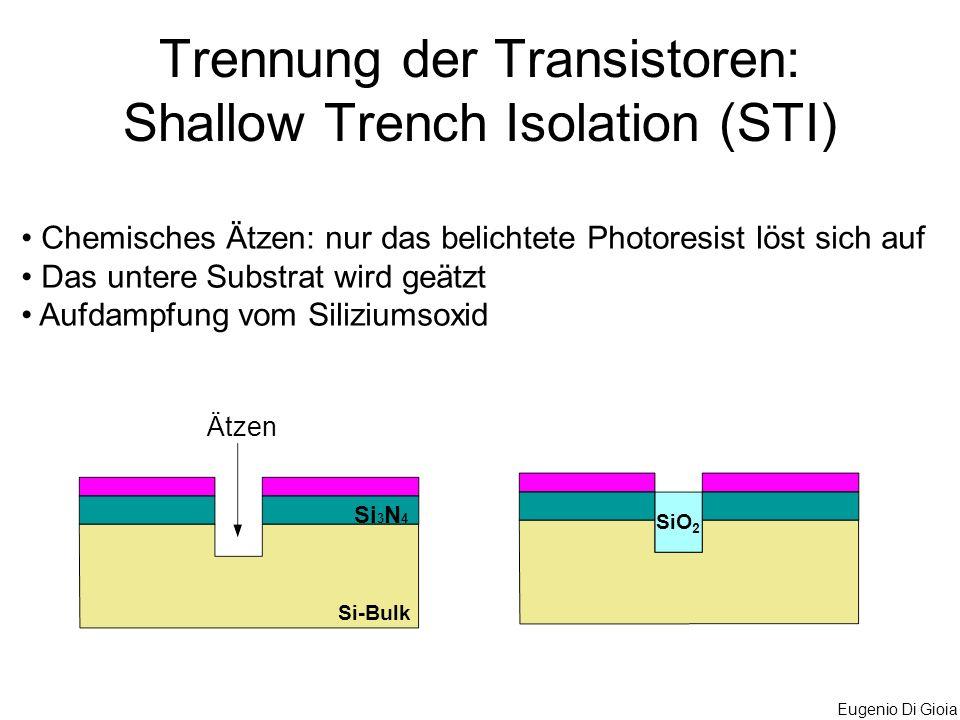 Trennung der Transistoren: Shallow Trench Isolation (STI)