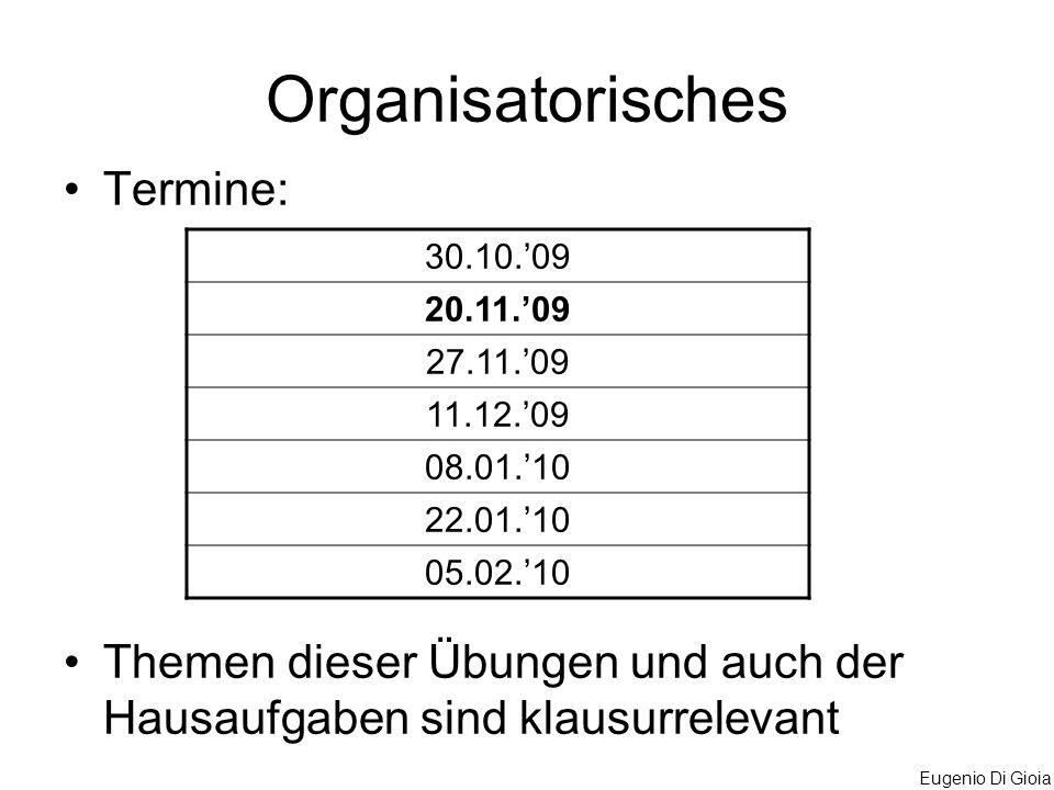 Organisatorisches Termine: