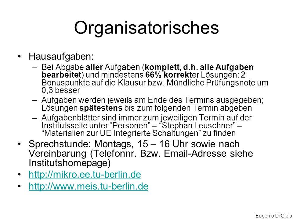 Organisatorisches Hausaufgaben: