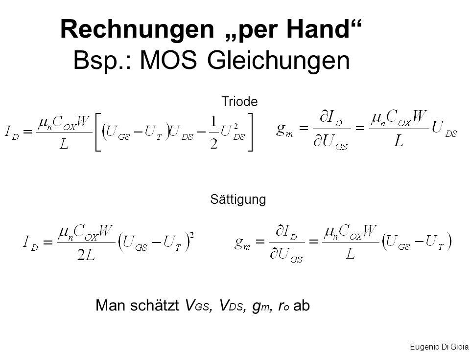 "Rechnungen ""per Hand Bsp.: MOS Gleichungen"