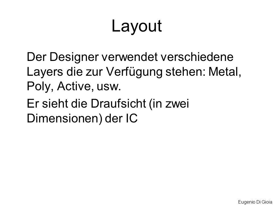 Layout Der Designer verwendet verschiedene Layers die zur Verfügung stehen: Metal, Poly, Active, usw.