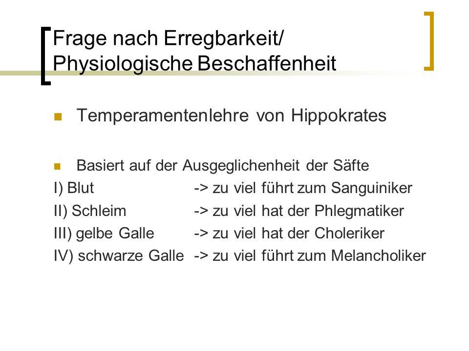 Frage nach Erregbarkeit/ Physiologische Beschaffenheit